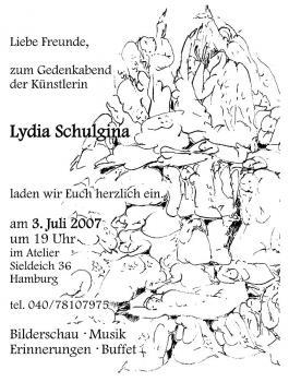 zum Gedenkabend der Künstlerin Lydia Schulgina