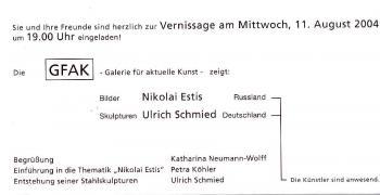 Einladung. Nikolai Estis, Ulrich Schmied. Vernissage am Mittwoch